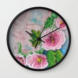 Delicate Frilly Hollyhocks Wall Clock