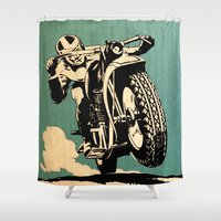 motorcycle Shower Curtains featuring Motorcycle Race by Fernando Vieira