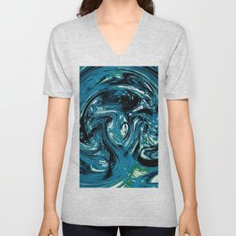 psychedelic spiral line pattern painting abstract background in blue and green Unisex V-Neck