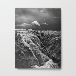 Storm Over The Badlands Black and White Metal Print