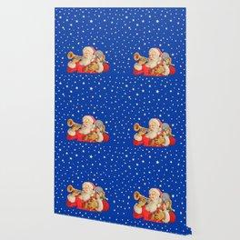Santa Claus & Christmas Stars on the Night Sky Wallpaper
