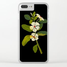 Vinca Rosea Mary Delany Floral Flower Paper Collage Delicate Vintage Black Background Botanical Clear iPhone Case