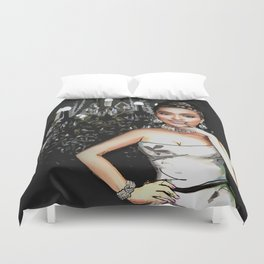 Retro Pinup Girl & Sparkly Chandelier Duvet Cover