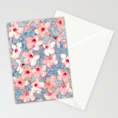 Shabby Chic Hibiscus Patchwork Pattern in Pink & Blue Stationery Cards