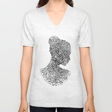 Fingerprint Silhouette Portrait No.1 Unisex V-Neck