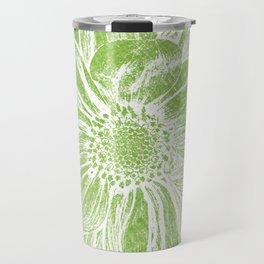 White Flower On Lime Green Crayon Travel Mug