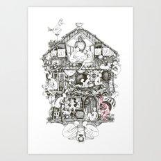 Follow the red rabbit Art Print
