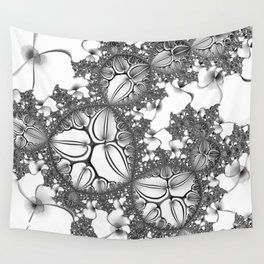 Silver petals and white flowers Wall Tapestry