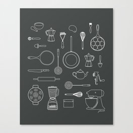 kitchen tools (white on black) Canvas Print