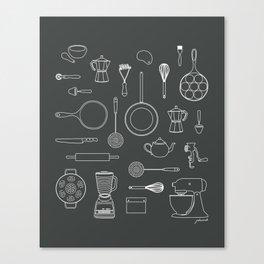 kitchen tools (white on black) Canvas Print
