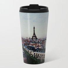 Paris Eiffel Tower Acrylics On Canvas Board Metal Travel Mug