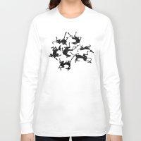 greyhound Long Sleeve T-shirts featuring greyhound yoga by Matt Mawson