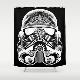 Mandala Stormtrooper - White. A loyal solider.  Shower Curtain