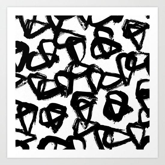 Painted Geometric Black and White Art Print