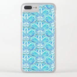 Decorative Layers of Blue Flowers Clear iPhone Case
