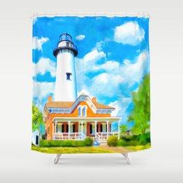 St Simons Island Lighthouse - Georgia Coast Art Shower Curtain