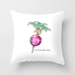 Beet: My Heart Skips A Beet Throw Pillow