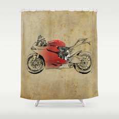 Ducati 1199 Panigale - Original drawing | gift for men and bikers Shower Curtain