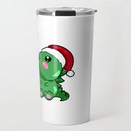 dino dinosaur santa christmas present gift rawr Santa Cartoon Son Daughter Travel Mug