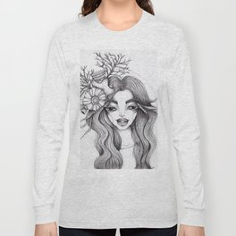 JennyMannoArt Graphite Drawing/Serena the mermaid Long Sleeve T-shirt