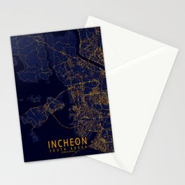 Incheon, South Korea Map - City At Night Stationery Cards