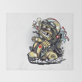 Smoke Skull Driver Moped - Texas cigar Throw Blanket