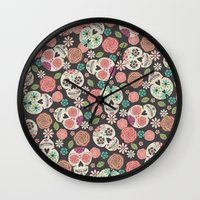 sugar skulls Wall Clocks featuring Sugar Skulls by Bohemian Gypsy Jane
