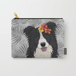 Happy Border Collie with Flowers Carry-All Pouch