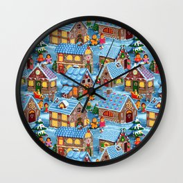 Gingerbread Village on Christmas Eve Wall Clock