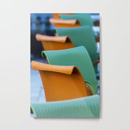Blue Green and Orange Abstract Metal Print