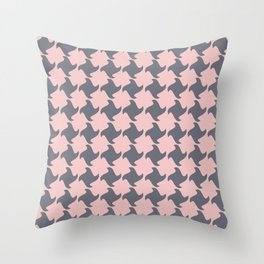 Retro Pink and Grey Pattern  Throw Pillow