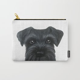Black Schnauzer, Dog illustration original painting print Carry-All Pouch