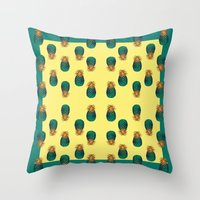 pineapples Throw Pillows featuring PINEAPPLES by Heaven7