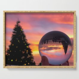 Pink Lensball Crystal Ball Christmas in California Serving Tray