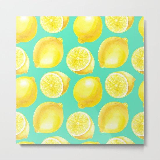 Watercolor lemons pattern Metal Print