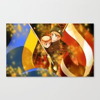 hetalia Canvas Prints featuring Hetalia Latvia & Ukraine by Amymone Montoya