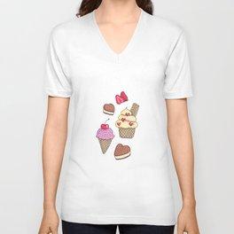 Ice Cream and Berries Unisex V-Neck