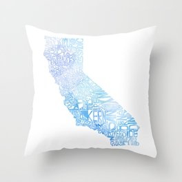 Typographic California - Blue Watercolor map Throw Pillow