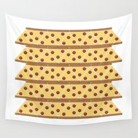 pizza Wall Tapestries featuring Pizza by JDHicks