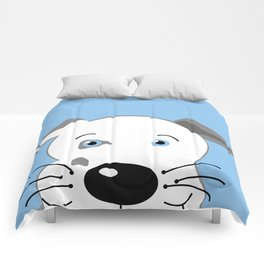 Cute Pit Bull Gray White with Blue eyes Cartoon Comforters