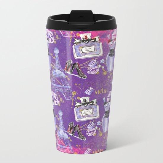 Fashion Victim - Paris France Elegance Shopping Girly in pink and purple Metal Travel Mug