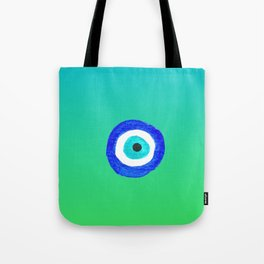 Single Evil Eye Amulet Talisman Ojo Nazar - ombre lime to tuquoise Tote Bag