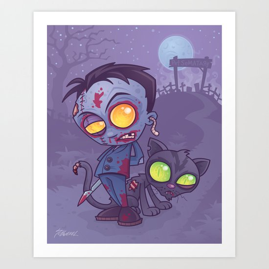 Pet Cemetery: Zombie Boy and his Zombie Cat Art Print