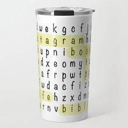 Bookstagram Word Search - Yellow Highlighter Travel Mug