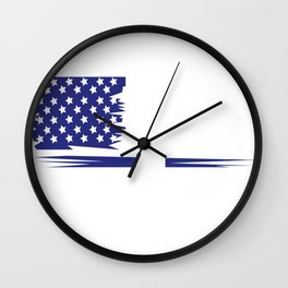 America flag woman wedding love couple gift Wall Clock