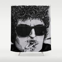 bob dylan Shower Curtains featuring Bob Dylan by Drawn by Nina