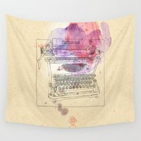 mercedes Wall Tapestries featuring typewriter by Sabine Israel