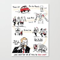 shaun of the dead Canvas Prints featuring Shaun of the Dead by Rob O'Connor