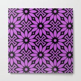 Purple/Black Flower Pattern Metal Print