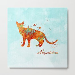 Abyssinian Cat Watercolor Orange Light Blue Abstract Metal Print